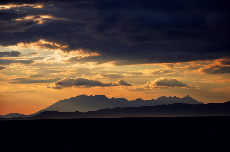 Cuillin ridge at sunset